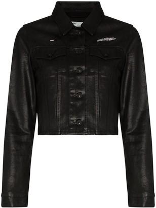 Off-White coated cropped denim jacket