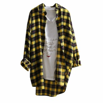 Toamen Women's Tops Womens Tops Toamen Clothes Sale Clearance Casual Turn-Down Collar Lattice Button Up Long Sleeve Loose Shirt Blouse Cardigan Outerwear(Yellow 16)