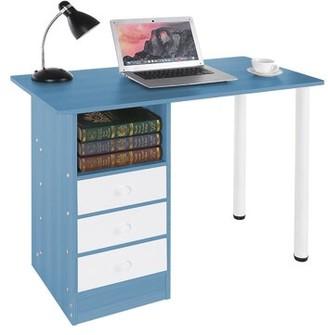 Inbox Zero Laptop Study Desk Color (Top/Frame): Blue/White