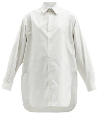 Raey Oversized Dropped-shoulder Cotton-blend Shirt - Womens - Light Grey