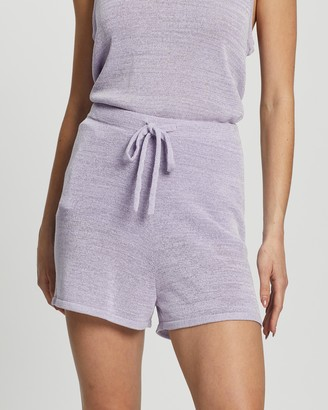Atmos & Here Atmos&Here - Women's Purple High-Waisted - Positano Knit Shorts - Size S at The Iconic