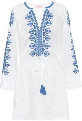 Tory Burch Embroidered linen minidress