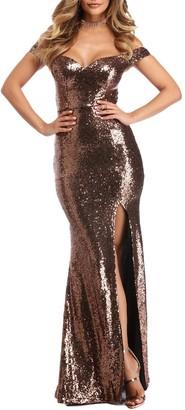 Stillluxury Off The Shoulder Mermaid Sequin Evening Gowns Slit Maxi Bridesmaid Dresses Royal Size 12