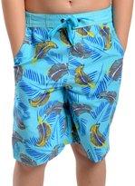 Universal Textiles Childrens Boys Lined Jungle/Leaf Pattern Swim Shorts