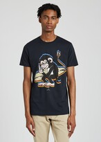 Thumbnail for your product : Paul Smith Men's Slim-Fit Dark Navy Cotton 'Surfing Monkey' Print T-Shirt