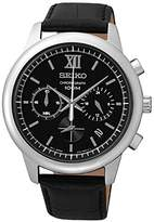 Seiko SSB139P2 Men's Watch - Quartz Chronograph, Black Dial, Black Leather Strap