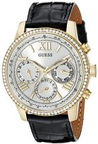 GUESS Women's U0643L2 Classic Black & Gold-Tone Multi-Function Watch with Genuine Crystals