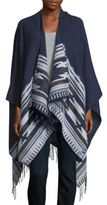 Vince Camuto Geo Weave Ruana Patterned Open Front Cape