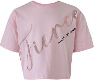 River Island Girls Pink 'Fierce' cropped T-shirt