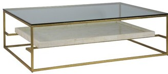 "Artistica Cumulus Capiz Coffee Table Home Size: 19"" H x 60"" L x 40"" W, Table Base Color: Gold"