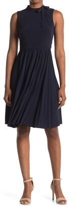 Maggy London Bow Neck Sleeveless Pleated Fit & Flare Dress