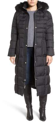 Larry Levine Quilted Maxi Faux Fur Trim Hooded Coat