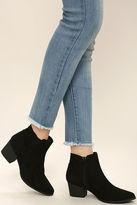 Qupid Dorothy Black Suede Ankle Booties