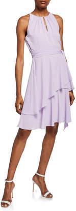 Tahari ASL Tiered Ruffle Peek-A-Boo Dress