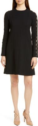 Lela Rose Wave Inset Long Sleeve Dress