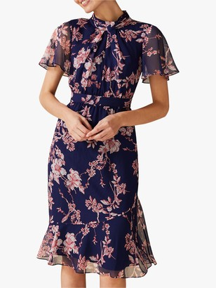 Phase Eight Maya Printed Georgette Dress, Lapis/Multi