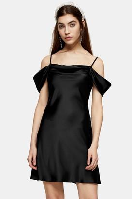 Topshop Womens Black Satin Cold Shoulder Mini Dress - Black