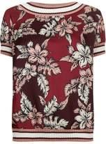 Moncler Tropical Flower Print Silk T-Shirt