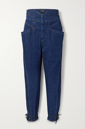 Isabel Marant Nubaia Suede-trimmed High-rise Tapered Jeans - Dark denim