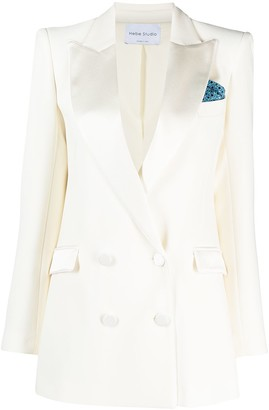 Hebe Studio Peak-Lapel Double-Breasted Blazer