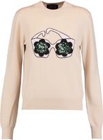 Markus Lupfer Daisy Sunglasses sequined intarsia-knit merino wool sweater