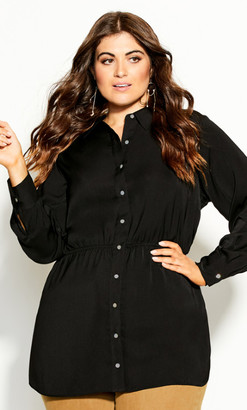 City Chic Rouche Love Tunic - black