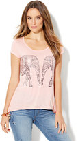 New York & Co. Metallic Foil Elephant Graphic Logo Tee - Pink