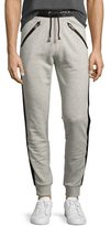 Just Cavalli Track-Stripe Jogger Pants, Gray