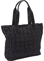 Women's SHARO Genuine Leather Bags Oversized Canvas/Leather Weave Tote
