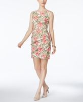 Connected Petite Floral-Print Tiered Sheath Dress