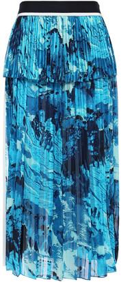 Victoria Victoria Beckham Pleated Printed Satin Crepe-paneled Chiffon Midi Skirt