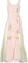 Peter Pilotto Embroidered Paneled Linen Maxi Dress - Pastel pink