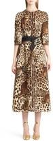Dolce & Gabbana Women's Belted Bengal Cat Print Cady Dress