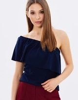 Warehouse Crepe One-Shoulder Top