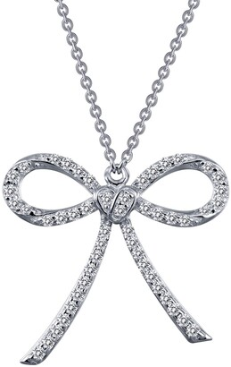 Lafonn Platinum Bonded Sterling Silver Pave Simulated Diamond Heart Bow Pendant Necklace