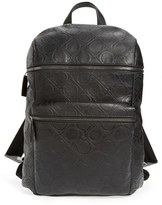 Salvatore Ferragamo Men's Gancio Embossed Leather Backpack - Black