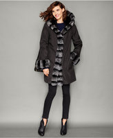 The Fur Vault Rabbit-Fur-Trim Hooded Reversible Coat