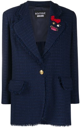 Boutique Moschino Long Single-Breasted Tweed Jacket