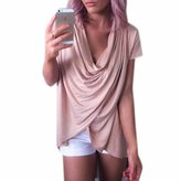QIYUN.Z Short Sleeve V Neck Pleated Women Irregular T-Shirts Blouse Chemises