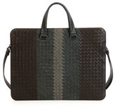 Bottega Veneta Tricolor Woven Slim Briefcase, Brown/Gray