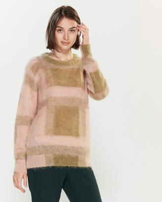 Roberto Collina Geometric Mohair-Blend Long Sleeve Sweater