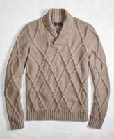 Brooks Brothers Golden Fleece 3-D Knit Cashmere Blend Cable Shawl Collar Sweater