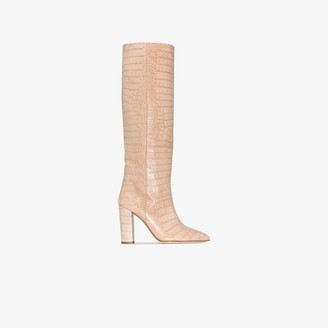 Paris Texas Pink 105 Mock Croc Leather Boots