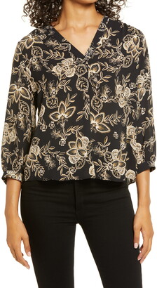 Vince Camuto Woodblock Floral Print Blouse