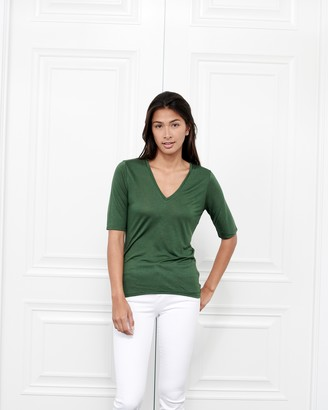 Fite Luxury Tees Cashmere V Neck Three-Quarter Sleeve Top