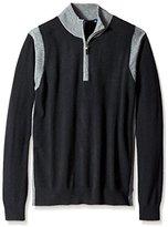 Thirty Five Kent Men's Colorblocked Cashmere Quarter Zip Sweater