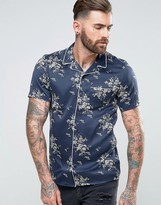 Asos Regular Fit Satin Pyjama Shirt With Piping And Floral Print