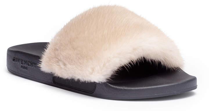 Givenchy Light beige mink slide sandals