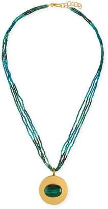 Dina Mackney Azurtie Multi-Strand Necklace with Malachite Pendant