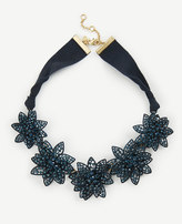 Ann Taylor Metallic Crystal Flower Statement Necklace
